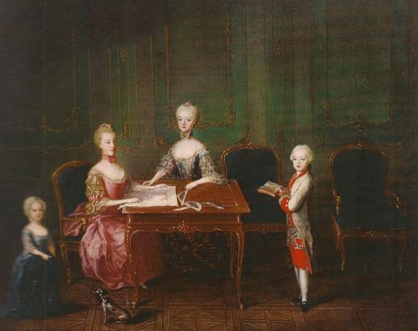 De izquierda a derecha, la Archiduquesa María Teresa con sus tíos, la Archiduquesa María Carolina, la Archiduquesa María Antonieta y el Archiduque Maximiliano por Martin van Meytens, 1763.