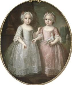 Luisa Isabel de Francia junto su hermana gemela Ana Enriqueta en 1737.