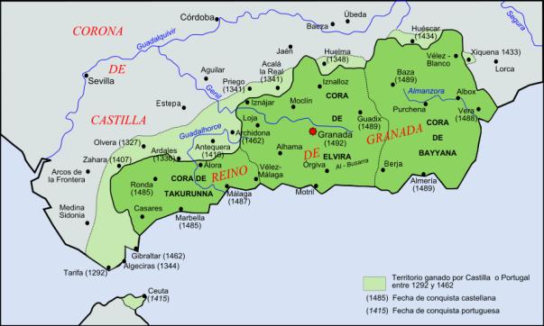 Territorio del reino nazarí durante el siglo XV. En verde claro, los territorios conquistados por los reinos cristianos desde el siglo XIII incluyen Ceuta, en la costa de África.