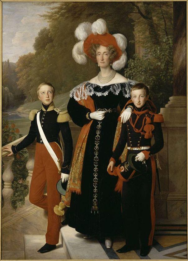La Reina pintada con sus hijos, por Hersent.